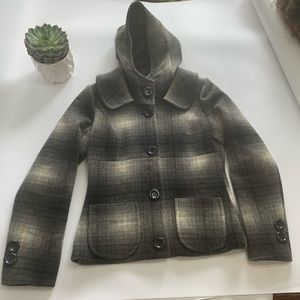 Groggy | Plaid Wool Coat with Hoodie | Size  M